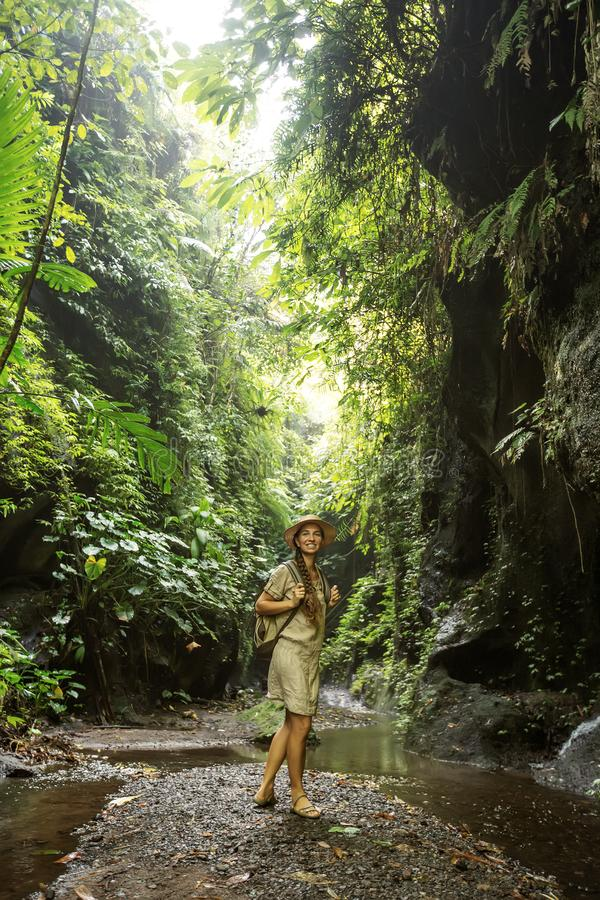 Woman in jungle on Bali, Indonesia royalty free stock photo