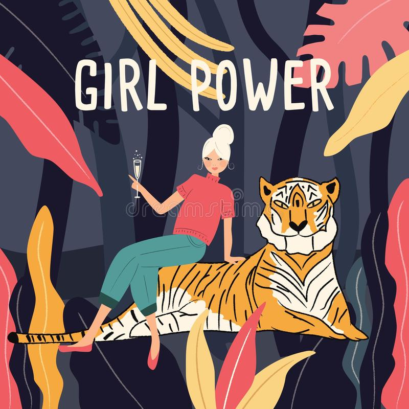 A woman in a jungle sitting on a tiger drinking champagne. Girl power feminism concept. Vector illustration stock illustration