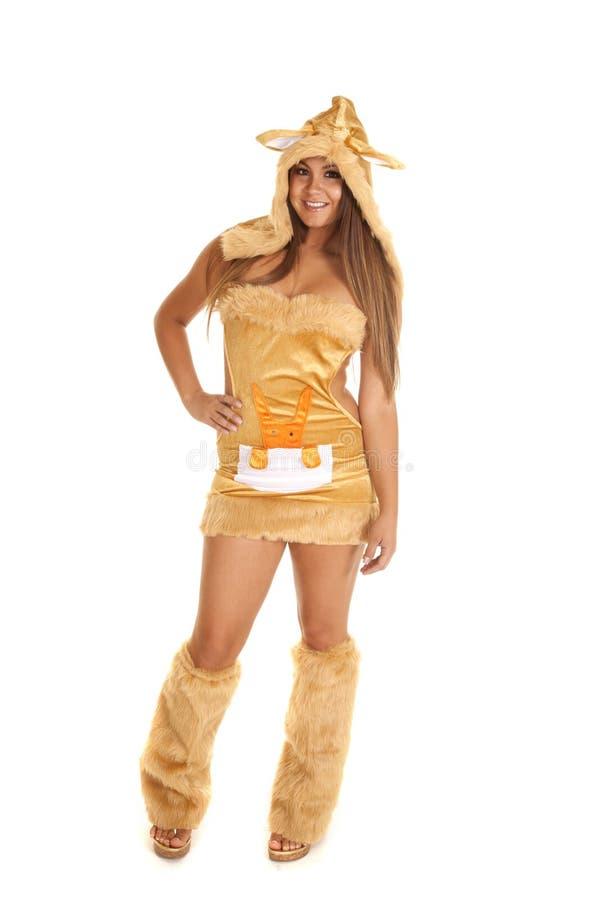 Woman kangaroo costume fur stock photos