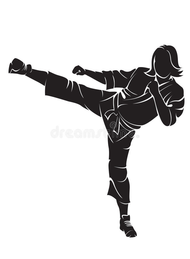 Woman karate fighter royalty free illustration