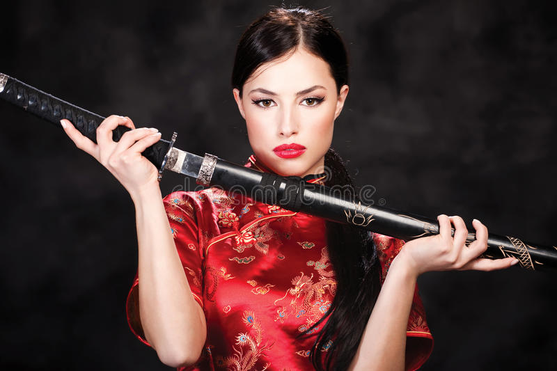 Download Woman And Katana/sword Royalty Free Stock Images - Image: 24493769