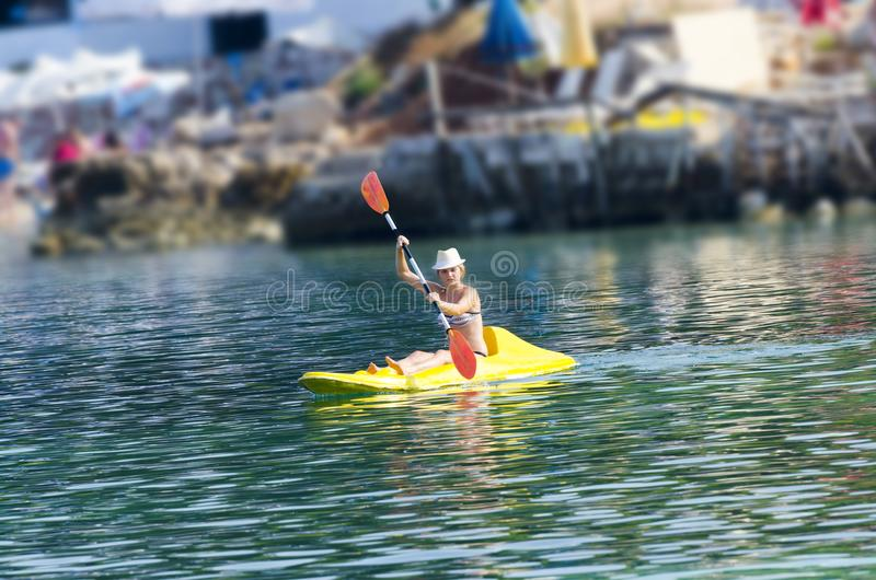 A Woman in a Kayak royalty free stock images