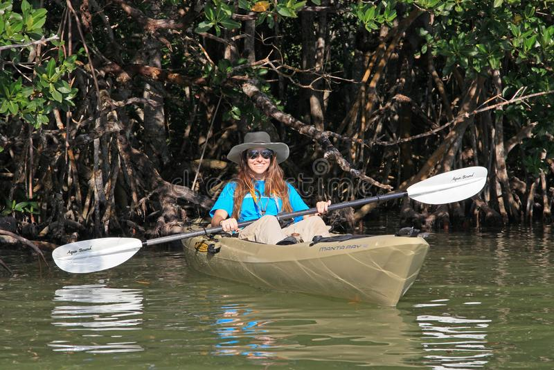 Young woman kayaking on Florida Bay, Florida. Woman kayaking amid the Red Mangroves of Florida Bay near Flamingo in Everglades National Park, Florida stock photos
