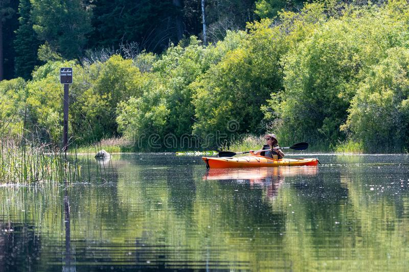 Woman kayaking Upper Klamath Lake Canoe Trail stock photos