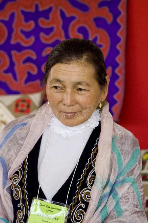 Woman from Kazakhstan folk art stock photo