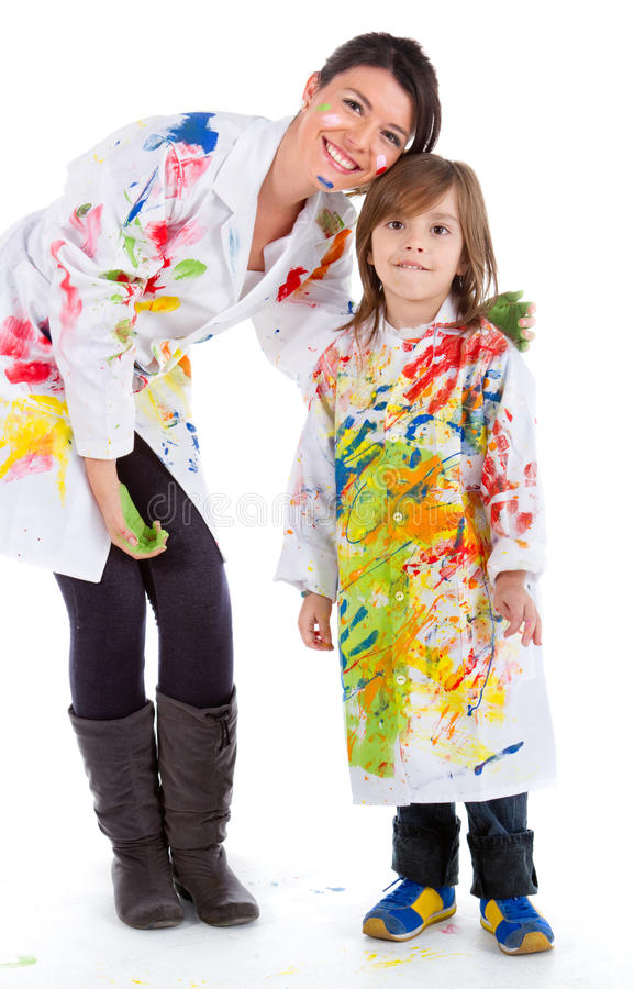 Download Woman and kid painting stock image. Image of happy, messy - 20862459