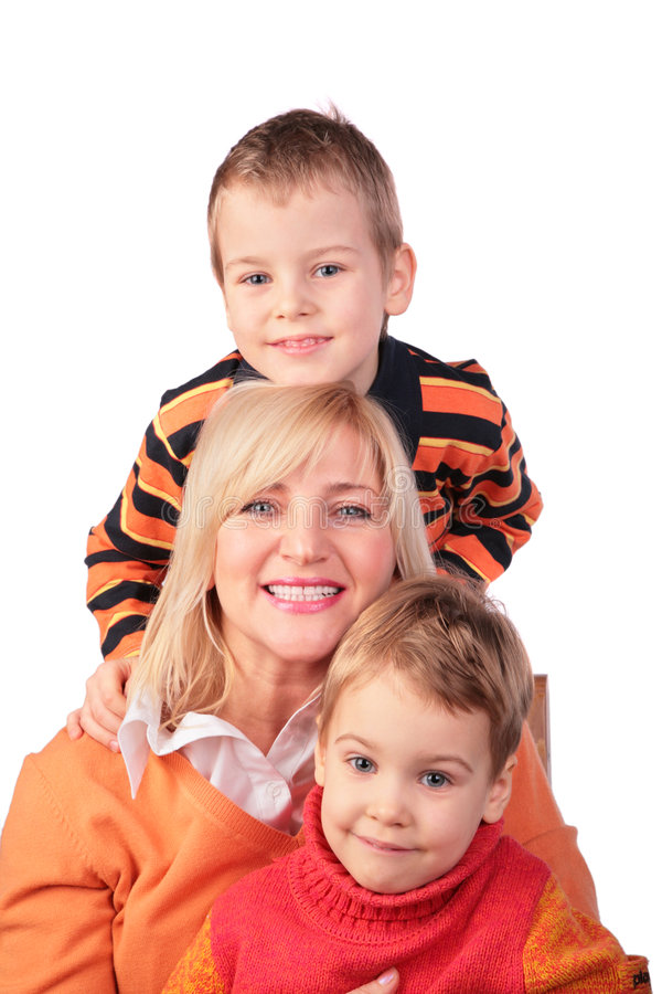 Woman with kids. On white royalty free stock photography