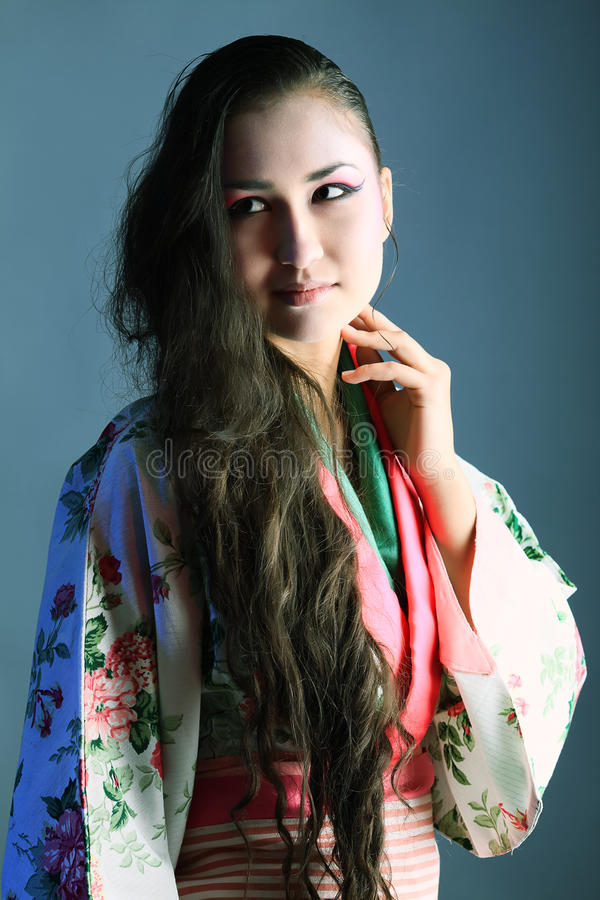 Woman in kimono royalty free stock photography