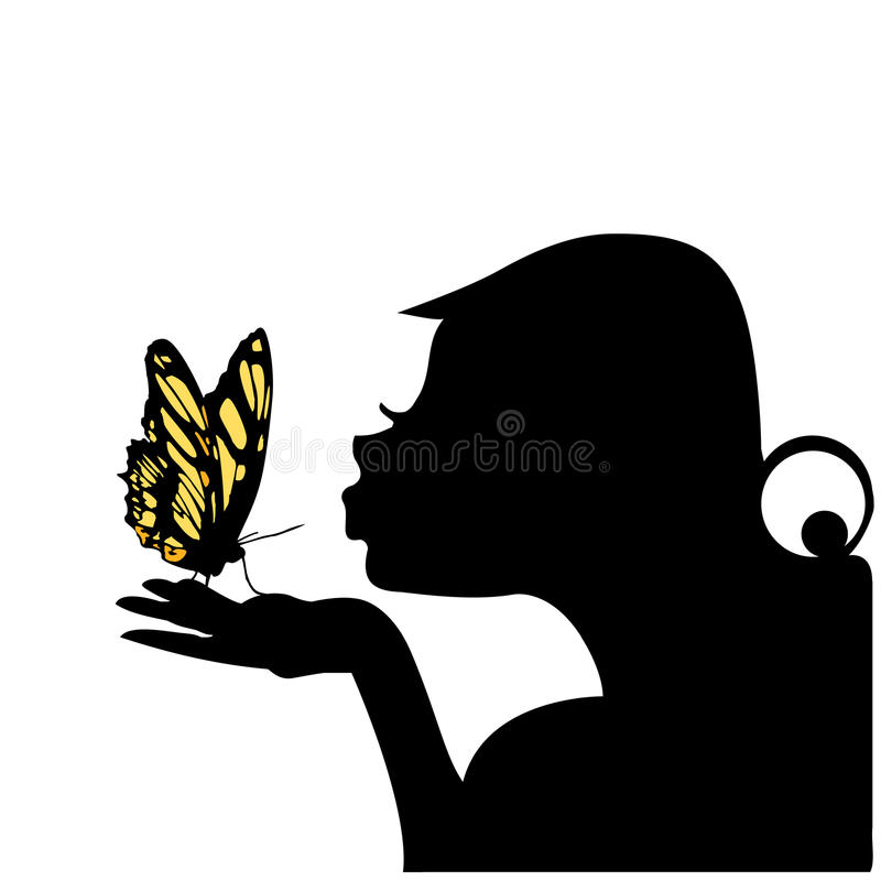 Woman kissing butterfly vector