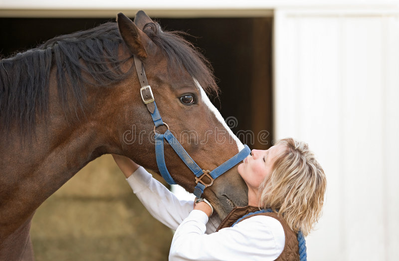 Download Woman Kissing Horse stock photo. Image of animals, outdoor - 8885802