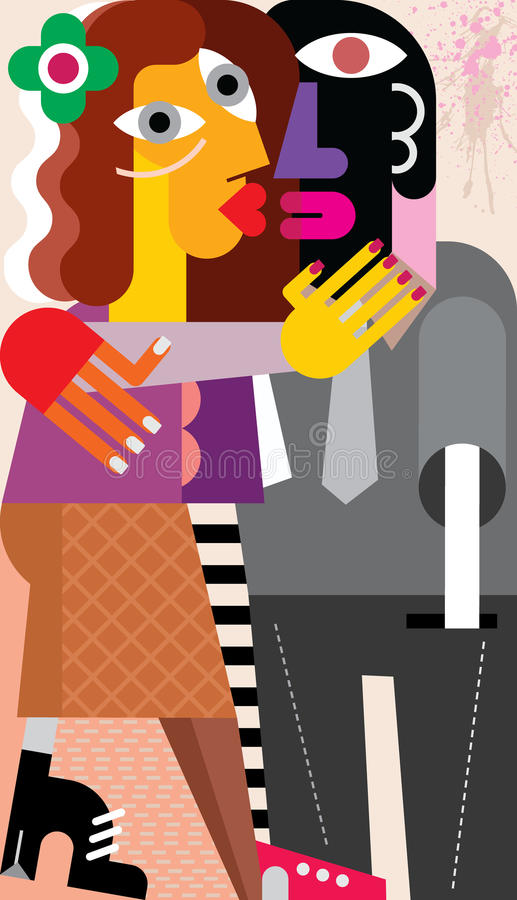 Woman kissing a man. Beautiful young woman hugging and kissing a man. Modern fine art picture, vector illustration vector illustration