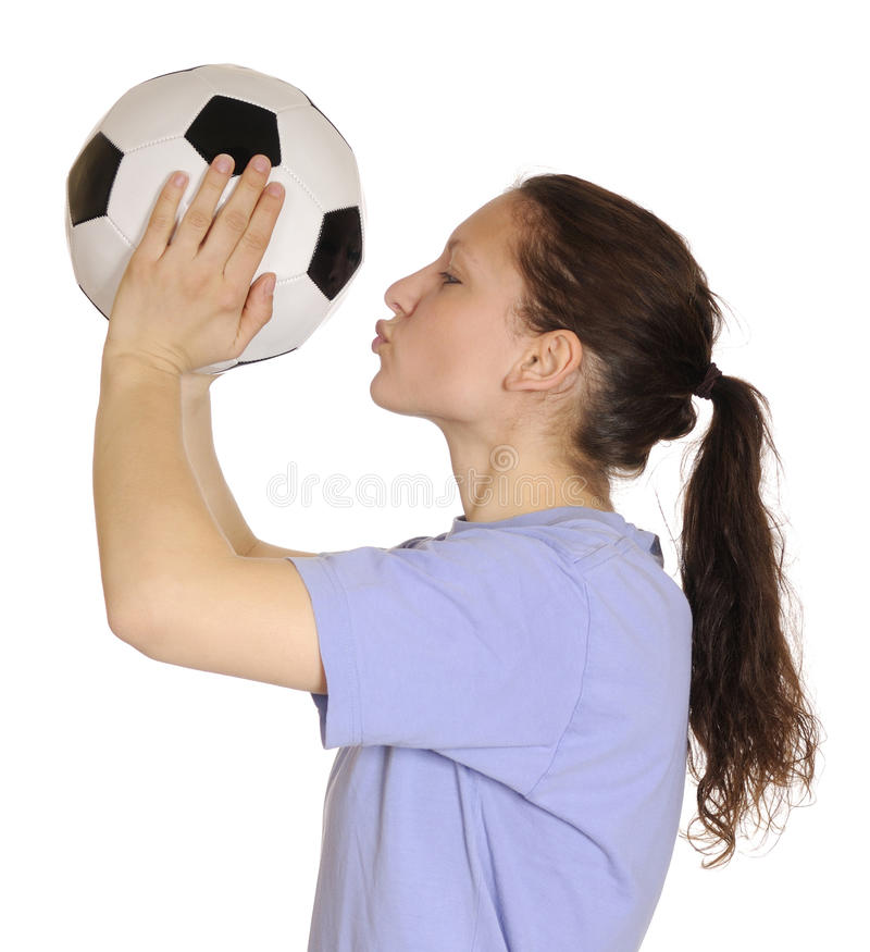 Download Woman Kissing A Soccer Ball Stock Image - Image of isolated, happy: 19012093