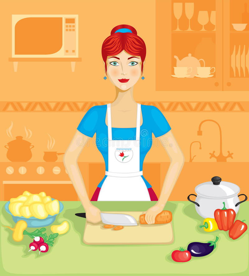 The woman in the kitchen vector illustration