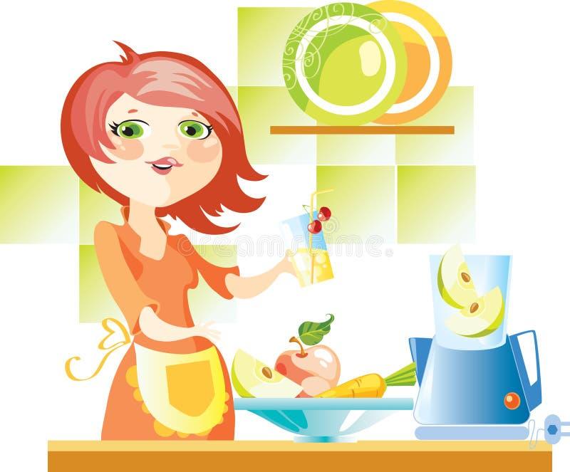 Woman on kitchen vector illustration