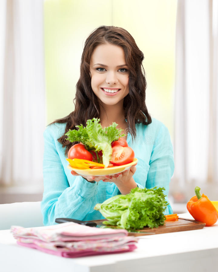 Download Woman In The Kitchen With Vegetables Stock Photo - Image: 38009486