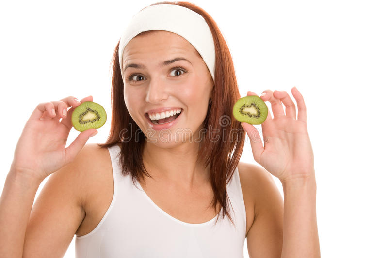 Woman with kiwi stock photo
