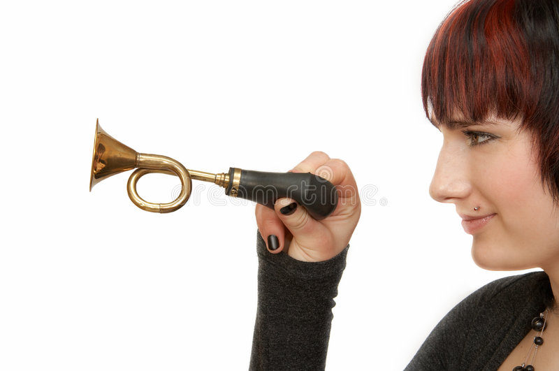 Download Woman&klaxon stock photo. Image of confidence, alarm, hold - 4519298