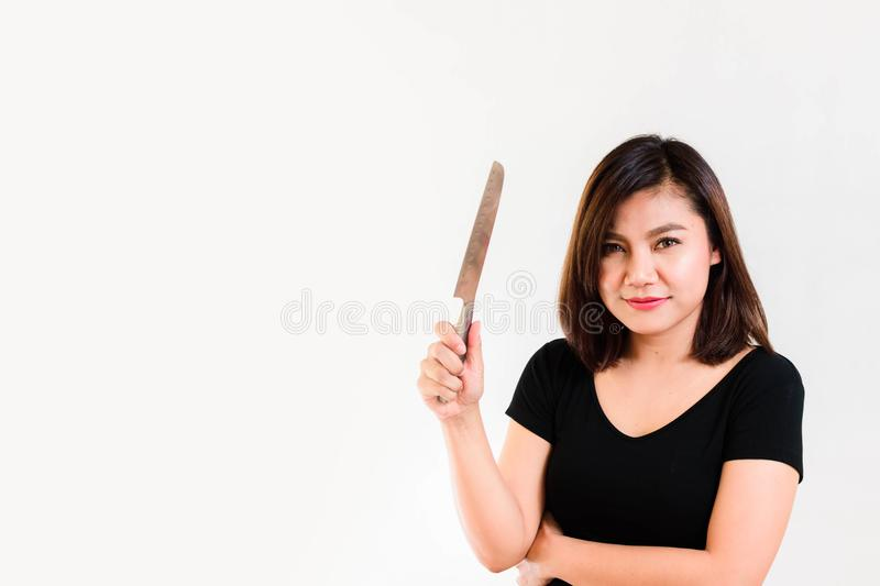 Woman with a Knife in her Hand stock images