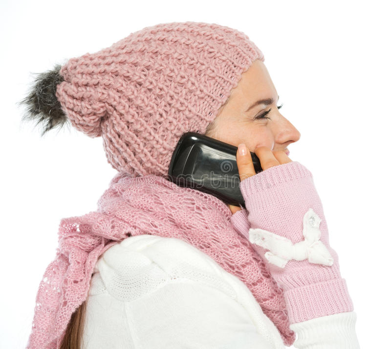Download Woman In Knit Winter Clothing Speaking Mobile Stock Photo - Image: 27269102