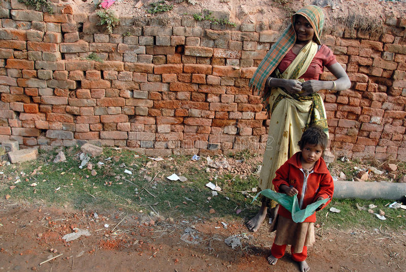 Woman Labour In Indian Brick-field stock photography