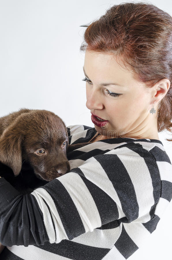 Woman with labrador royalty free stock photo