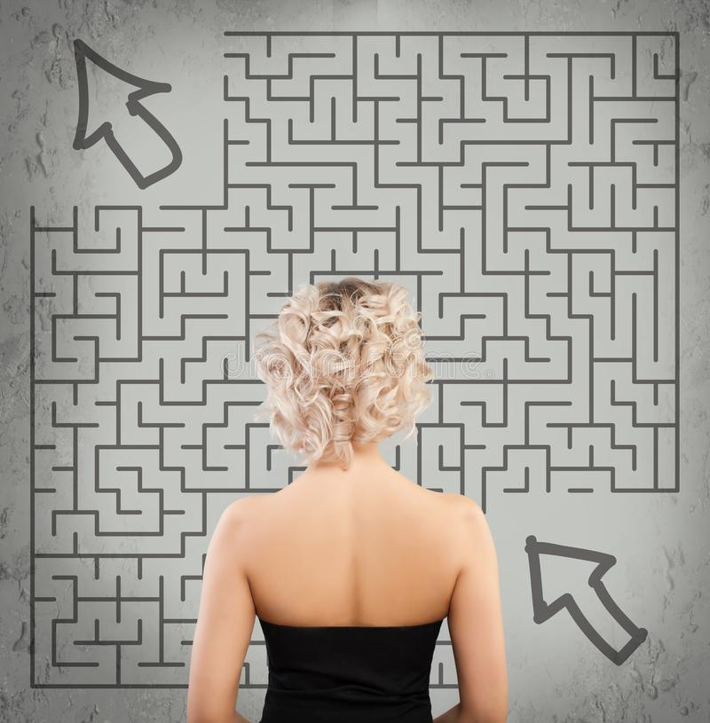 Woman and Labyrinth. Start up, Idea, Business Planning stock images