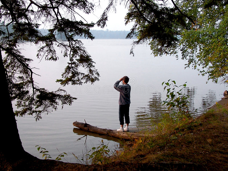 Download Woman beside lake stock image. Image of water, northern - 253497