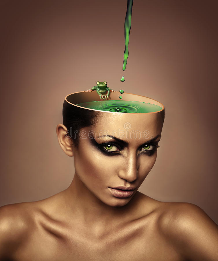 Woman with lake in head. Woman with lake and frog in head stock photos