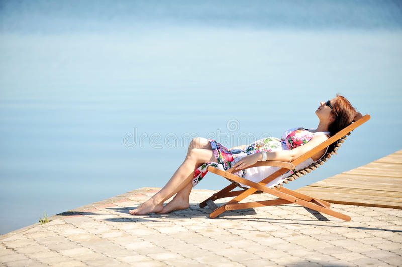 Download Woman on lakeside stock image. Image of healthy, person - 20672417