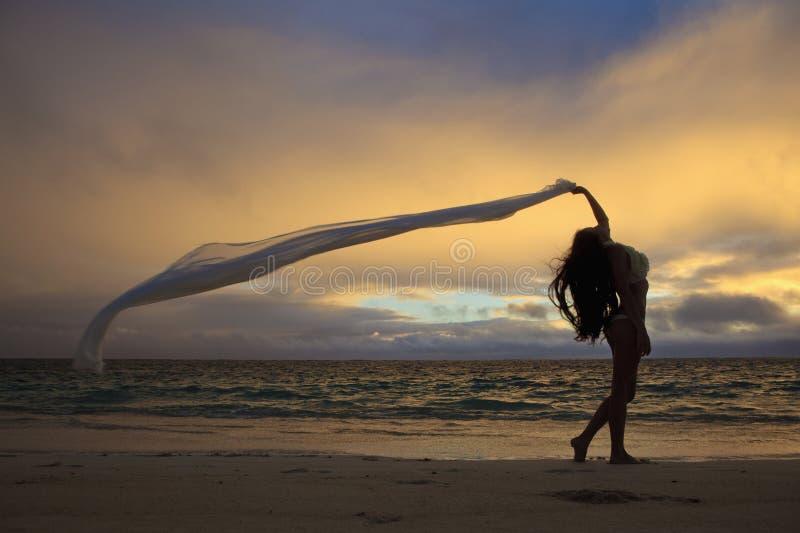 Woman On Lanikai Beach At Sunrise Royalty Free Stock Photo