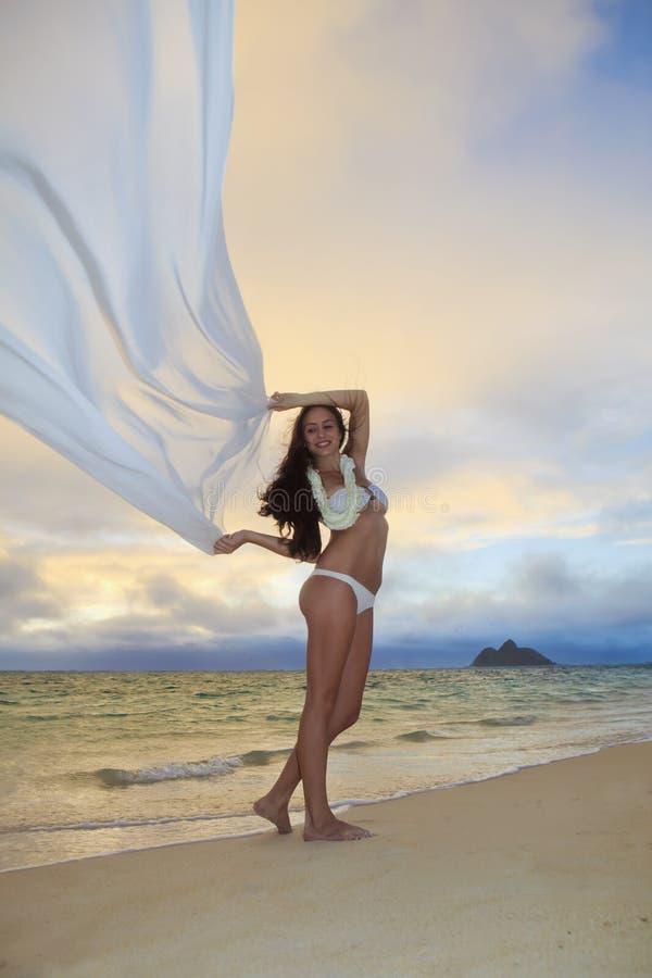 Download Woman On Lanikai Beach At Sunrise Stock Image - Image: 14424251
