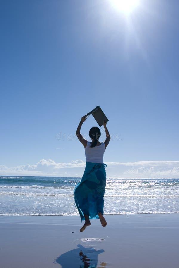 Woman with laptop. Shot at Gold Coast, Australia royalty free stock image
