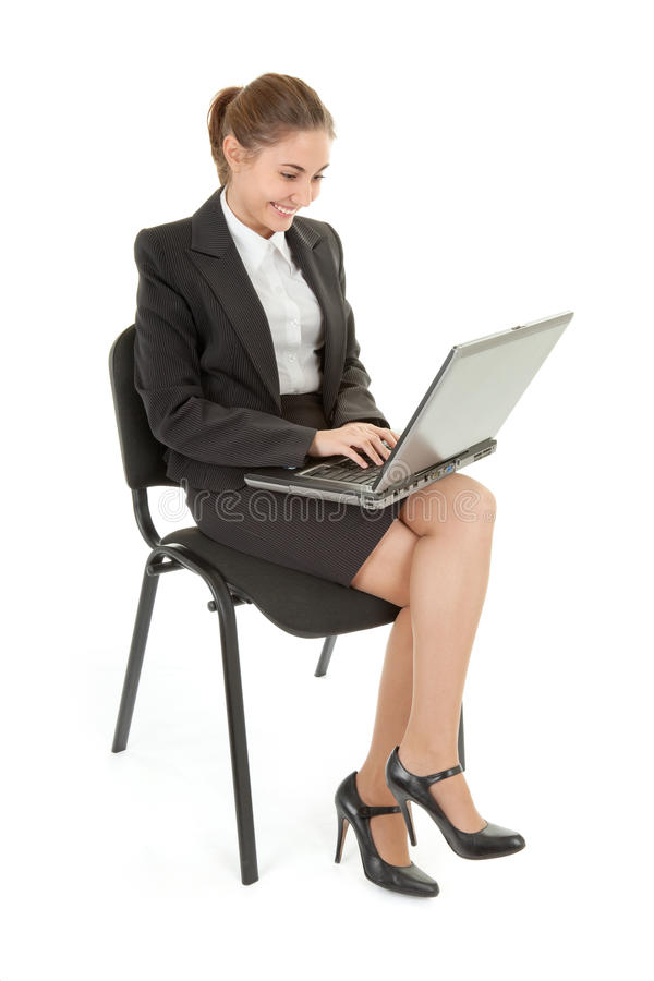 Woman And Laptop Royalty Free Stock Photos