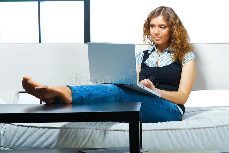 Download Woman with laptop stock image. Image of girl, happy, home - 20824367