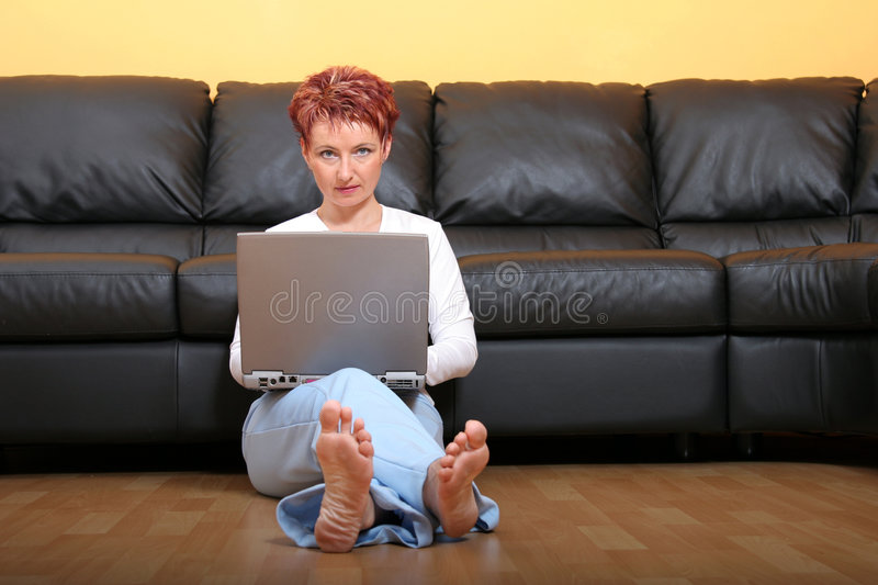 Download Woman On A Laptop 3 stock photo. Image of person, comfortable - 1247404