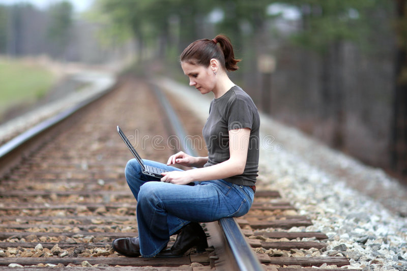 Download Woman with laptop stock photo. Image of image, adult, nature - 4721772