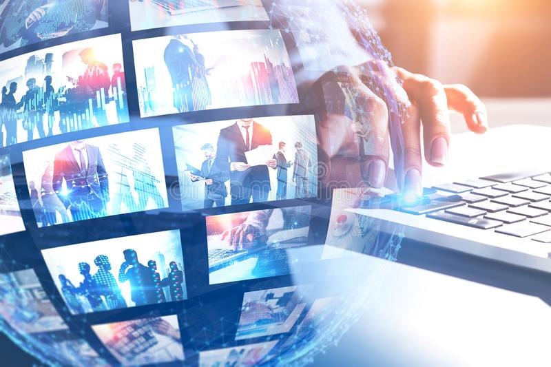 Woman with laptop, future streaming interface. Close up of woman hand using laptop with double exposure of futuristic video streaming interface. Social media and royalty free stock images