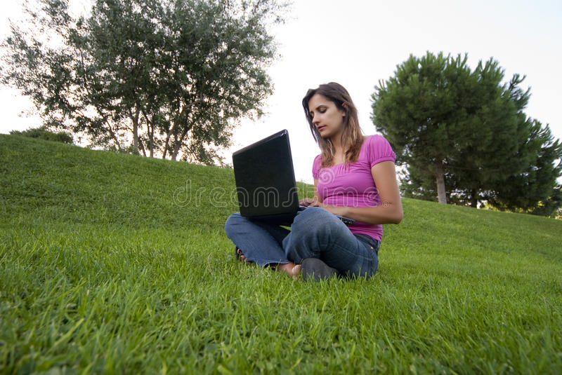 Download Woman laptop grass stock image. Image of education, grass - 10755703