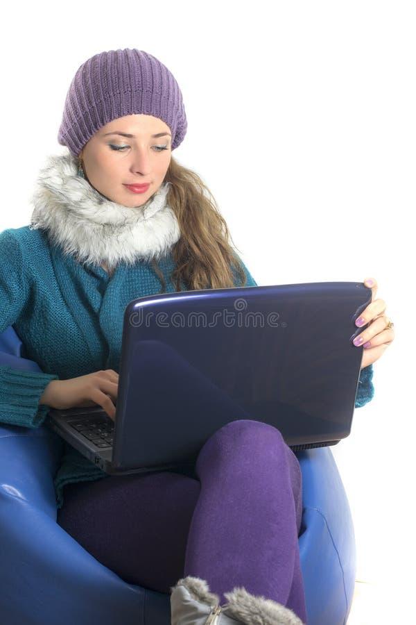 Download Woman With Laptop Navigating The Internet Stock Image - Image of girl, joyful: 27938245