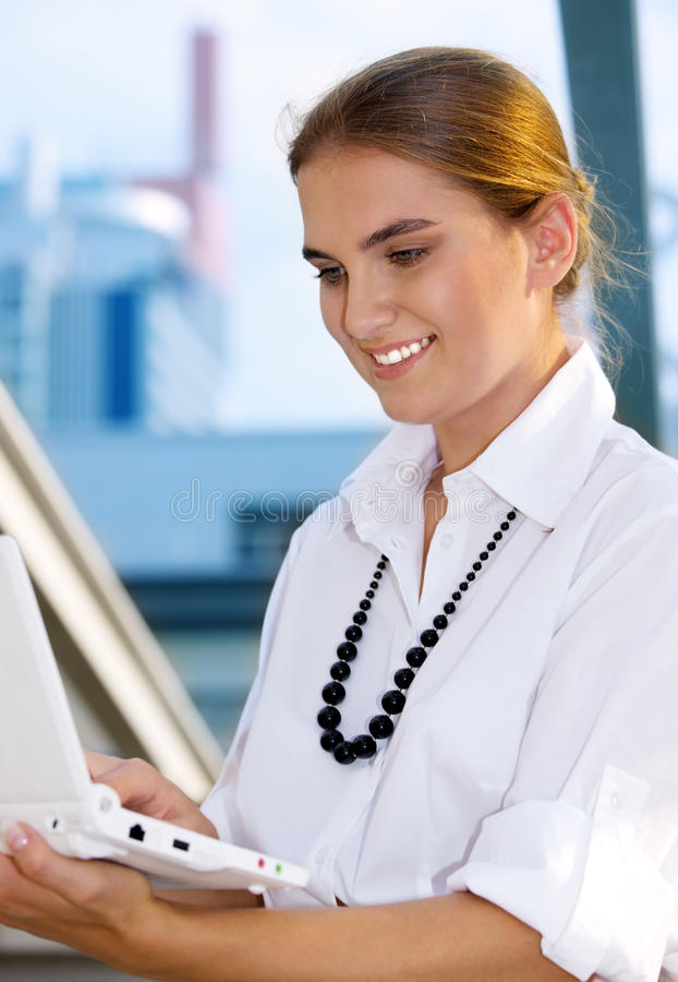 Download Woman with laptop stock image. Image of computer, online - 41455759