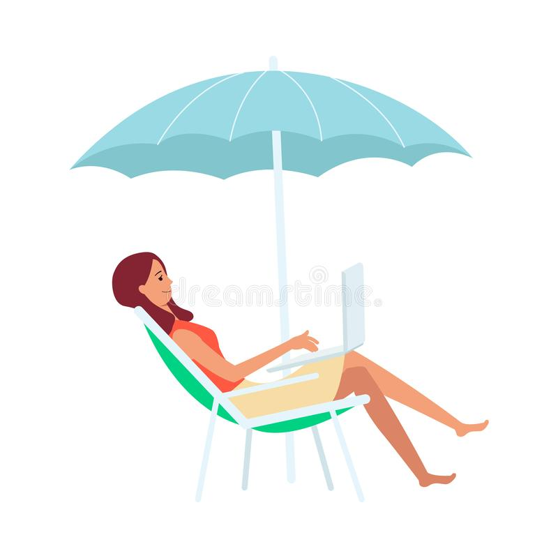 Woman with laptop sitting in lounge chair under umbrella cartoon style. Vector illustration isolated on white background. Freelance girl working on computer on vector illustration