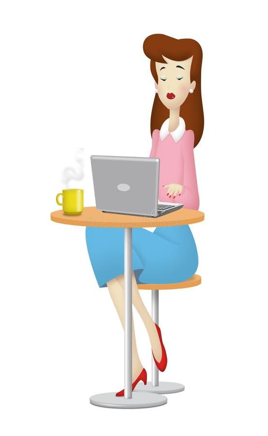 Download Woman Laptop stock illustration. Illustration of cafe - 33981193