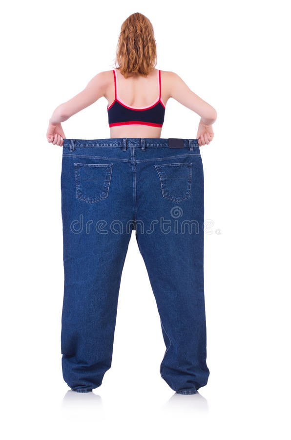 Download Woman with large jeans stock image. Image of shape, dieting - 36974973