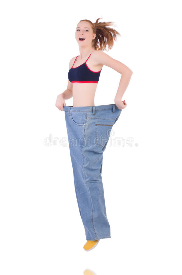 Download Woman with large jeans stock image. Image of belly, abdomen - 36975341