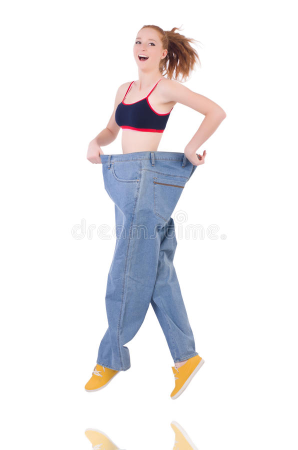 Download Woman with large jeans stock image. Image of happy, lose - 36975359