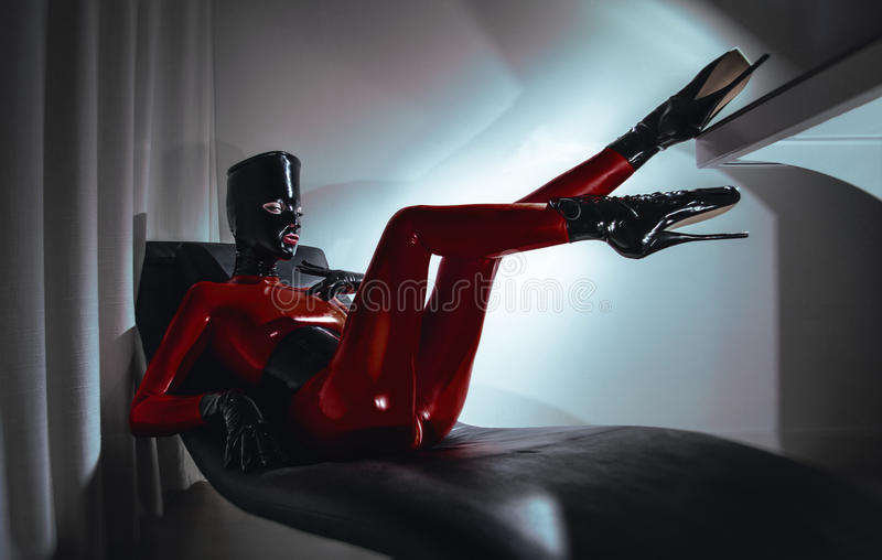 Download Woman In Latex Fetsih Red Costume Stock Photo - Image: 28235310