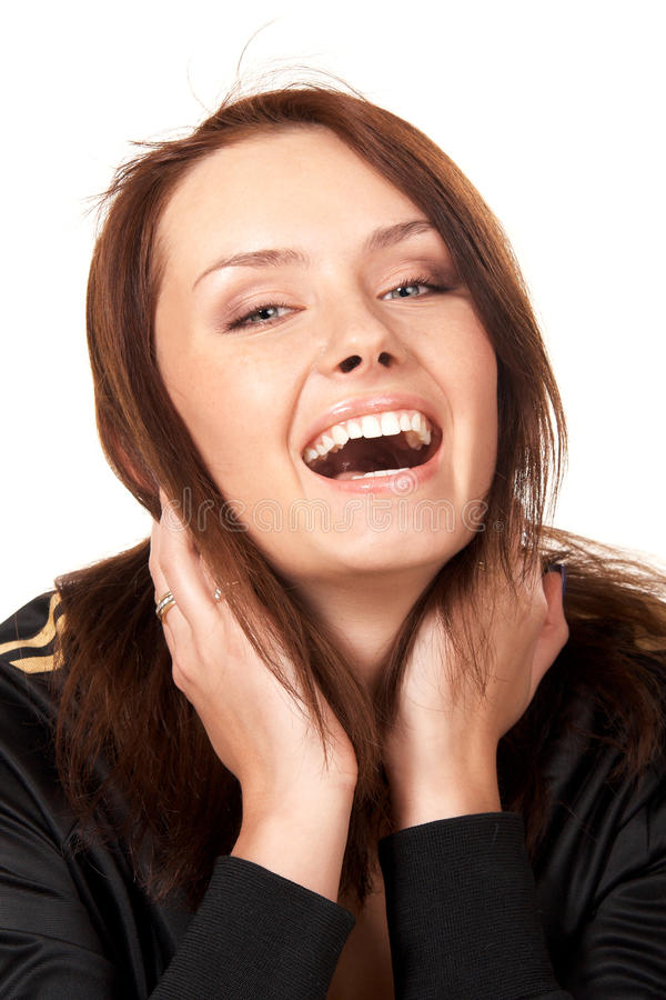 Download Woman laughing stock image. Image of laugh, dental, expression - 12717215