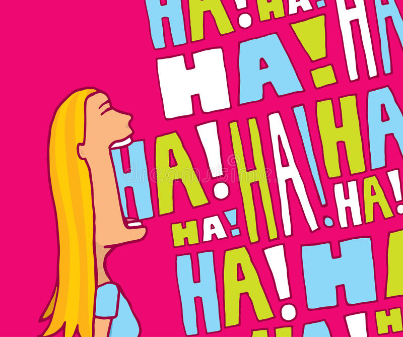 Woman laughing out loud. Cartoon blond woman laughing in lively colors royalty free illustration