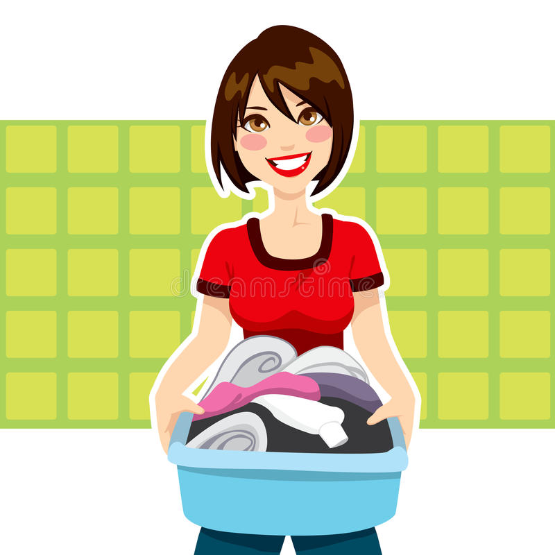 Woman Laundry Chores. Happy young woman holding clothes laundry chores basket vector illustration