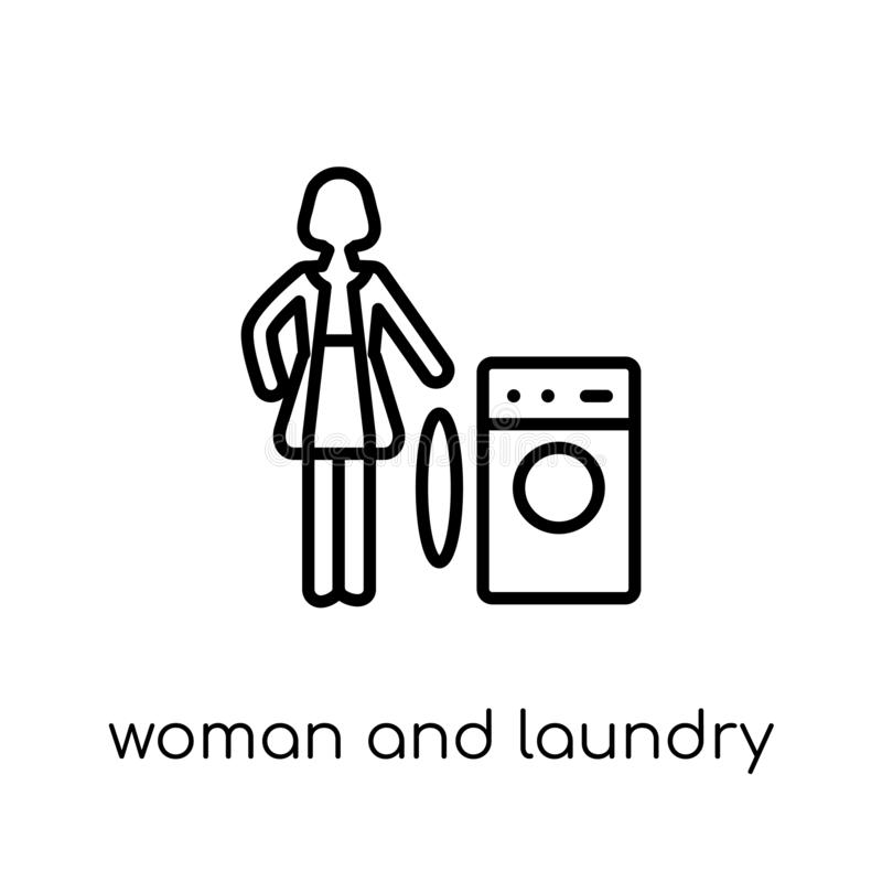 Woman and Laundry icon. Trendy modern flat linear vector Woman a stock illustration